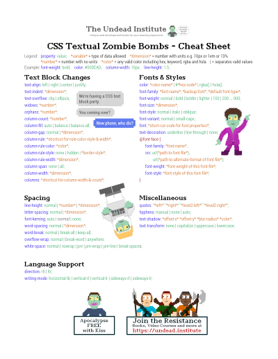 Zombie CSS Cheat Sheets